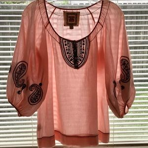 Chelsea & Ivy Embroidered Pheasant Boho Blouse